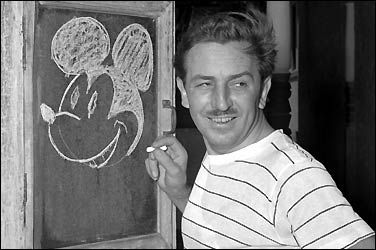 Walt Disney drawing Mickey Mouse